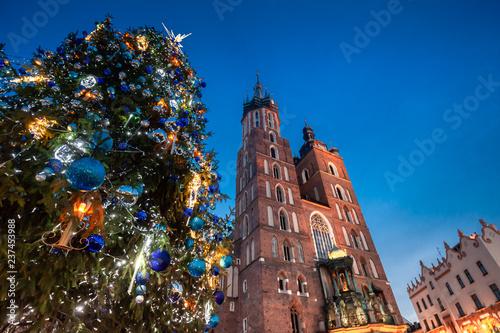 Christmas market in Krakow city on evening