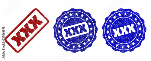 XXX grunge stamp seals in red and blue colors. Vector XXX labels with grunge style. Graphic elements are rounded rectangles, rosettes, circles and text labels. Designed for rubber stamp imitations.