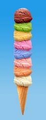 chocolate, kiwi fruit, pistachio, mango, mint, blueberry, orange, Strawberry and chocolate Ice cream scoops in cone isolated on white background © m.u.ozmen