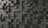Realistic black solid cubes background, located in space at different levels. Abstract background of 3d cubes