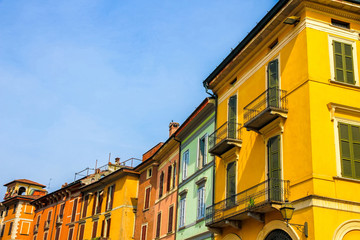 View on the historic architecture in Cremona, Italy on a sunny day.