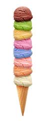 Vanilla, mango, mint, Strawberry and chocolate Ice cream scoops in cone isolated on white background © m.u.ozmen