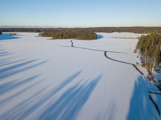 Aerial view of the winter lake
