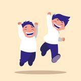 cute little children jumping avatar character