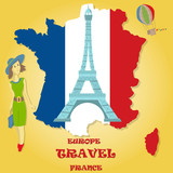 flat illustration travel to Europe France, symbols and attractions, girl with a bag in her hands looking at the map