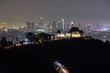 Los Angeles Panoramic Skyline at Night with Griffith Observatory in the foreground