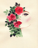beautiful woman and flowers . fashion illustration. watercolor painting - 237492912