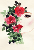 beautiful woman and flowers . fashion illustration. watercolor painting - 237492954
