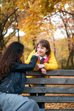Pretty woman and teen girl are posing in autumn park. Beautiful landscape at fall season. - 237502701