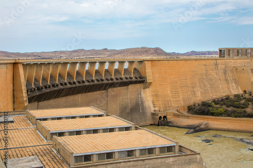 Gariep dam on the Orange River in South Africa, the largest dam in South Africa