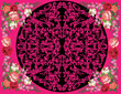 flowers design on black and pink background