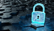Black and blue padlock icon on hexagons background 3D rendering - 237516300