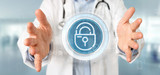 Doctor holding Security padlock wheel icon with stats and binary code 3d rendering - 237519194