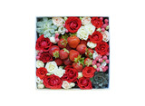 Box with small roses of different colors and berries and strawberries. isolate on white background.