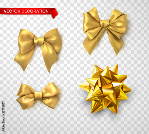 Set of bright golden satin 3d bows isolated on transparent background.