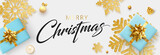 Merry Christmas banner with blue top view gifts and golden snowflakes.