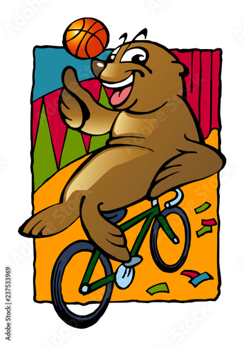 Sea lion with a ball on a bicycle in circus