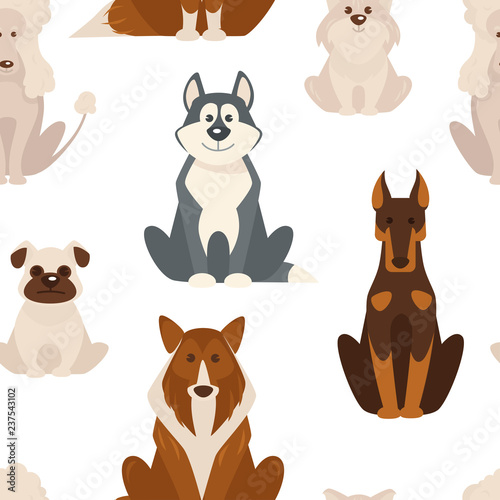 obraz PCV Dog types and breeds canine animals seamless pattern isolated on white background vector.