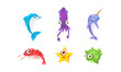 Flat vector set of marine creatures with big eyes. Sea animals. Elements for children book or game