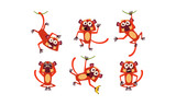 Flat vector set of funny brown lemur in different poses. Monkey with various emotions. Cartoon character of wild animal © topvectors