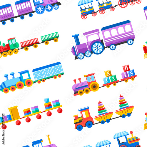 Toy Trains With Kid Toys And Children Playthings For Kindergarten