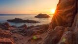 Beach in Costa Brava at sunrise. Cala de Boadella platja in Lloret de Mar on clear morning