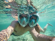 Young couple snorkeling in the sea