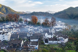 aerial view of shicheng village in late autumn - 237567725