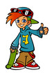 redhead boy with skateboard and glasses - 237568505