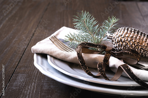 Christmas table setting with silverware and dark natural evergreen decor. Close up. Holiday. - 237568587
