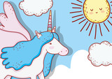 cute unicorn with horn and wings in the clouds - 237569390