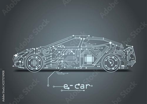 autonomous driving with a electric car - 237576908