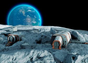 Base lunare, avamposto spaziale. Primo insediamento sulla luna. Missioni spaziali. Moduli abitativi per la conquista dello spazio. 3d rendering. La terra vista dalla luna