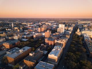 Aerial view of downtown Savannah, Georgia at first light