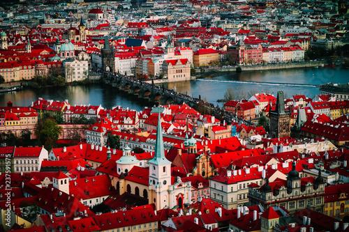 Czech republic, Prague city panorama. City Prague panoramic view, cityscape, gothic medieval architecture.