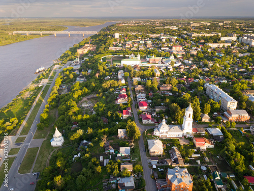 Foto Murales Panoramic aerial view  historical part of the Murom with Oka