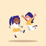 cute little girls celebrating avatar character