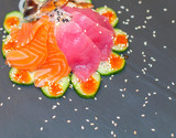 Fototapeta Maki - beautiful sushi, rolls, japanese cuisine, closeup © Дмитрий Демьянов