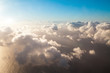 Top aerial view background on blue sky, bright sun white clouds  - 237627164