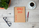 goals 2019 text on notepad