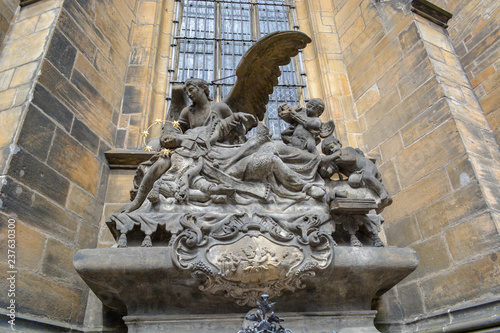 Wide-angle perspective of statue of Saint John of Nepomuk at St Vitus Cathedral, Prague