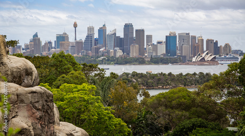 obraz PCV View across to the Sydney Central Business District skyline from Taronga Zoo in Sydney, Australia on 19 December 2014