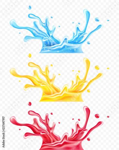 Zestaw plam czystej wody mineralnej pitnej, pomarańczowy