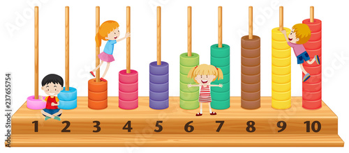 Children on colourful abacus - 237655754