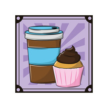 """Постер, картина, фотообои """"Coffee cup and cupcake"""""""