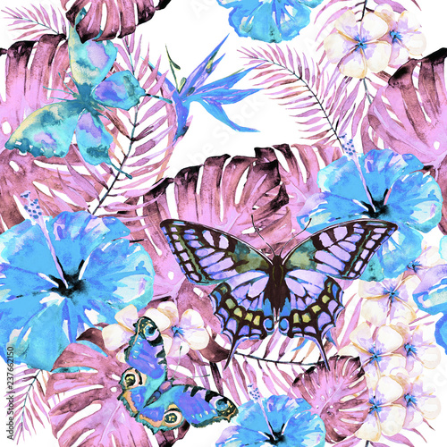 Hawaiian flowers, butterflies, watercolor, exotic plants, isolated on a white - 237662150
