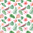 Watercolor seamless tropical pattern. Texture with tropical leaves, flowers, golden plants, palm trees. Great for wallpaper, scrapbooking, summer and wedding design, packaging, textiles, fabrics. - 237664581