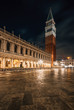 Quadro The Campanile at St. Marks Square at night, in Venice, Italy