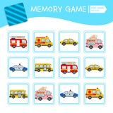 Memory game for preschool children, vector cards with cartoon transport. Find two identical picture. Kids activity page for book.