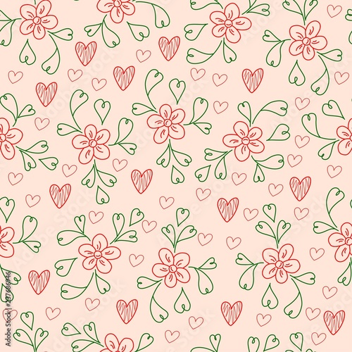 Floral hand drawn seamless pattern with heart shaped leaves. - 237686946